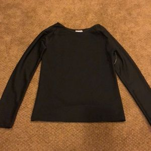 Emily Hsu Black Long Sleeve Top with Mesh